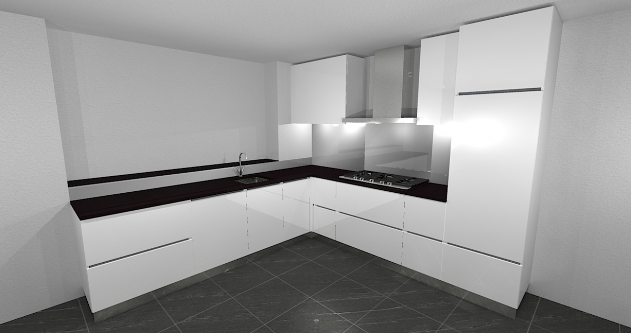 Artist Impression: Witte hoogglans keuken greeploos
